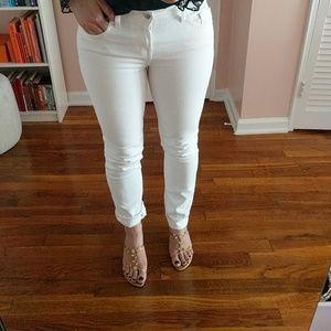 J Brand- pencil split leg white jeans 9122